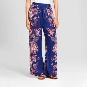 NEW Blue Floral Wide Leg Printed Palazzo Pants B1